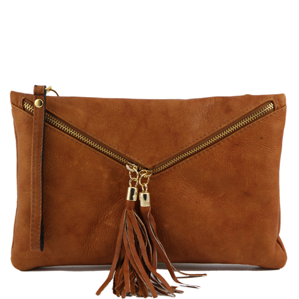 Authentic Italian leather Clutch Handbag - Audrey