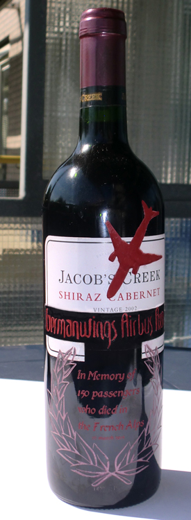 Crashed Germanwings Airbus A320 engraved on Jacob's Creek Cabernet