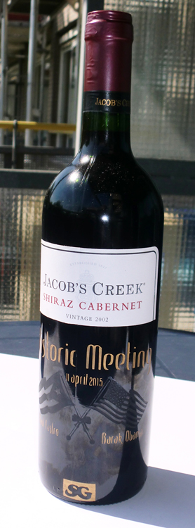 Historic Castro & Obama meeting engraved on jacob's creek Cabernet