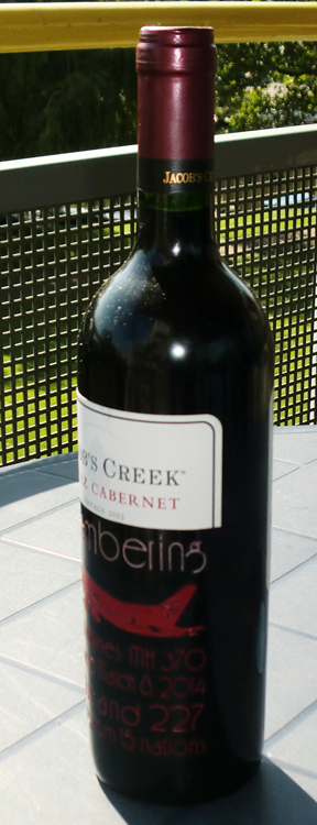 Malaysian Flight Disappeared engraved on jacob's creek Cabernet