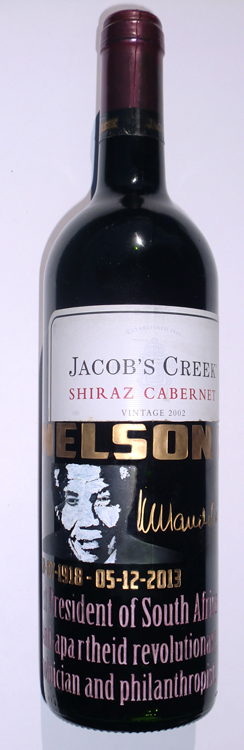Nelson Mandela engraved on jacob's creek Cabernet