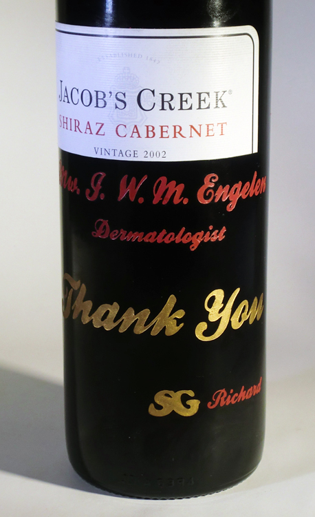 Thank You engraved on Jacob's Creek Cabernet
