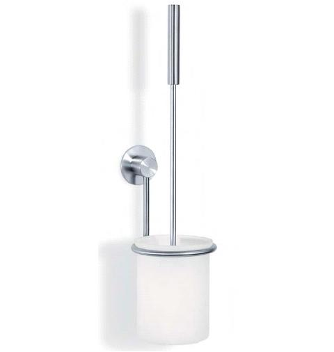 Wall Toilet Brush Set With White Brush + Glass Marino