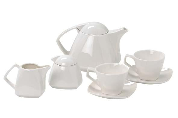 Madrid Tea set 9-pieces, teapot + milk + sugar + 2 x cups & saucers