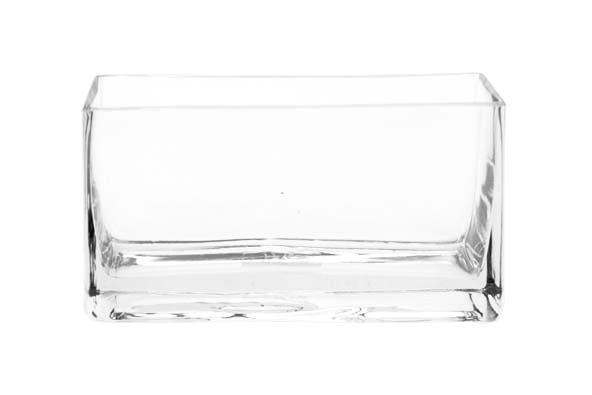 Glass vase (rectangle) Rh 6.5 X20, 3Xh11, 5Cm