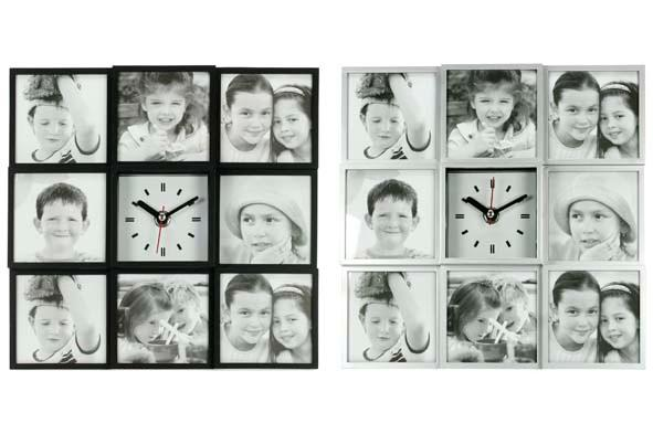 Photo Wall + Clock 24.7 X24, 7X4, 5 2Ass Black