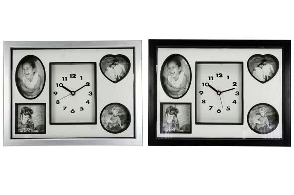 Photo Wall + Clock 38X29Cm 2Ass Black