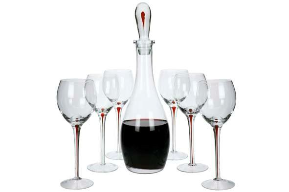 Wine Carafe Set + Stopper + 6 Red Wine Glasses