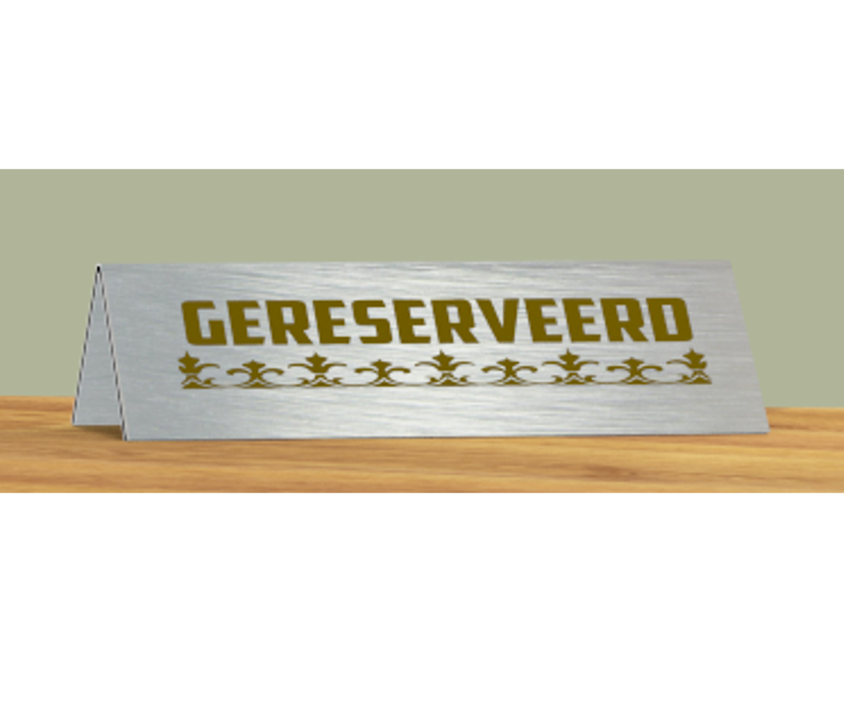 Dibond V-shaped nameplate (gold)