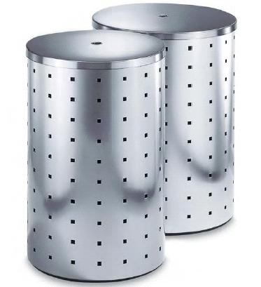 Stainless steel Laundry bin with  lid, 53 L, H. 55 cm, D 35 cm