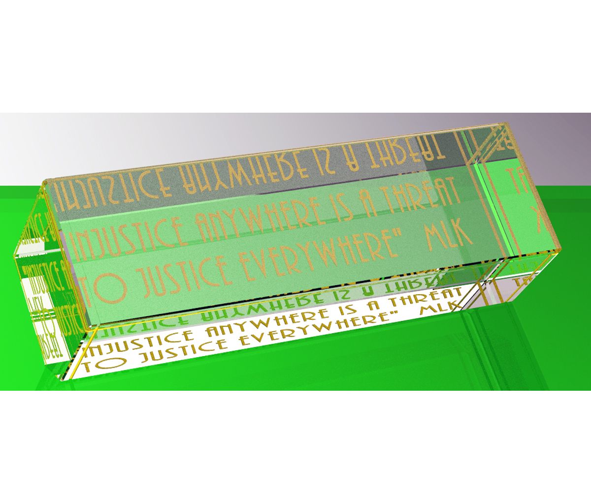Engraved quote: Injustice (Gold)