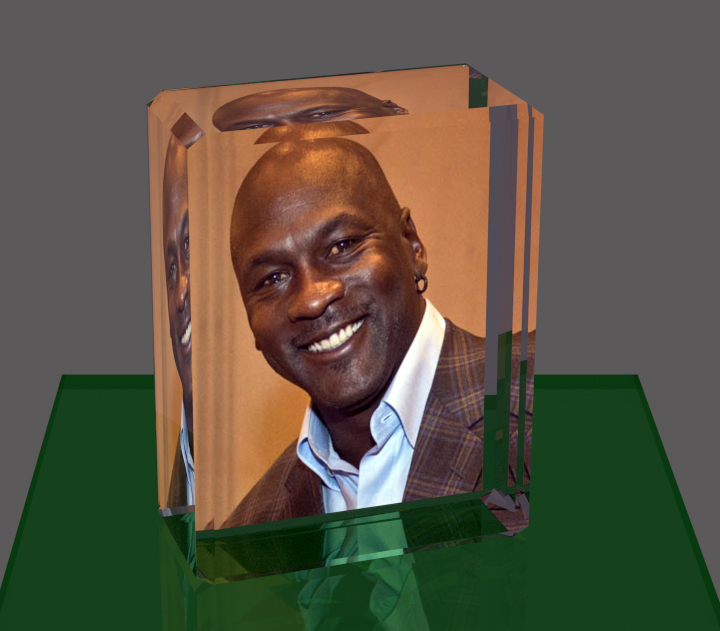 Mounted photos on plexiglass blocks