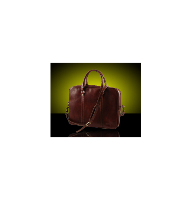 Exclusive leather laptop case - Colour: Brown (Prato)